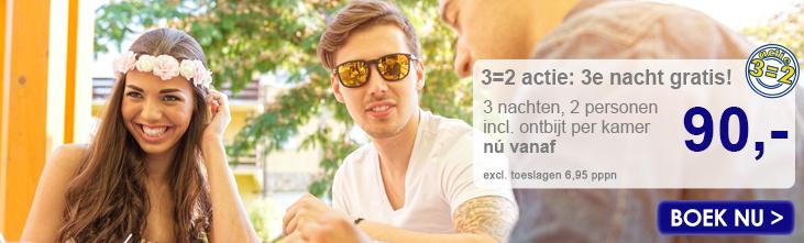 3=2 actie: 3e nacht gratis